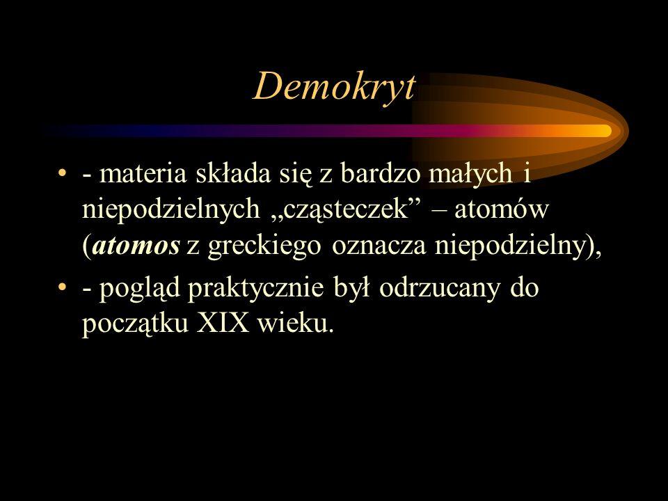 """Demokryt- materia składa się z bardzo małych i niepodzielnych """"cząsteczek – atomów (atomos z greckiego oznacza niepodzielny),"""
