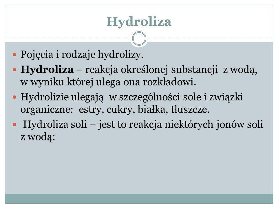 Hydroliza Pojęcia i rodzaje hydrolizy.