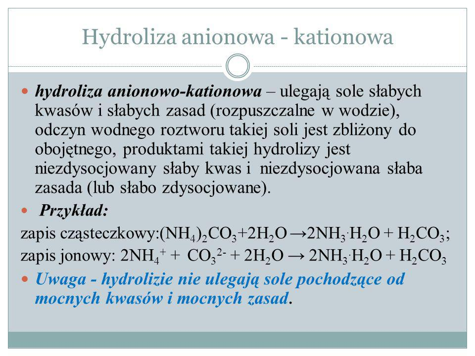 Hydroliza anionowa - kationowa