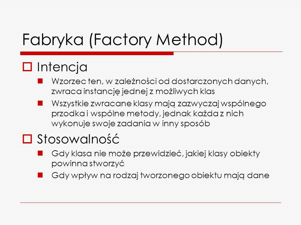 Fabryka (Factory Method)