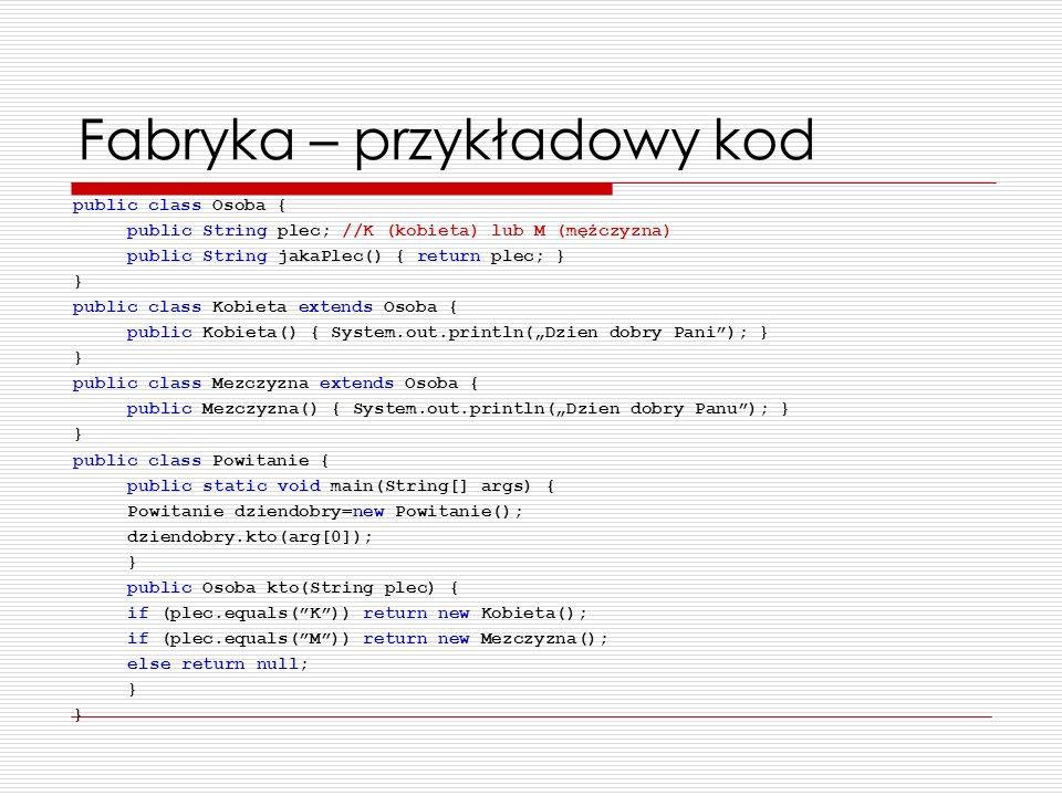 Fabryka – przykładowy kod