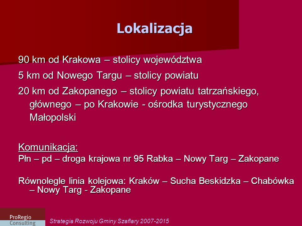 Lokalizacja 90 km od Krakowa – stolicy województwa