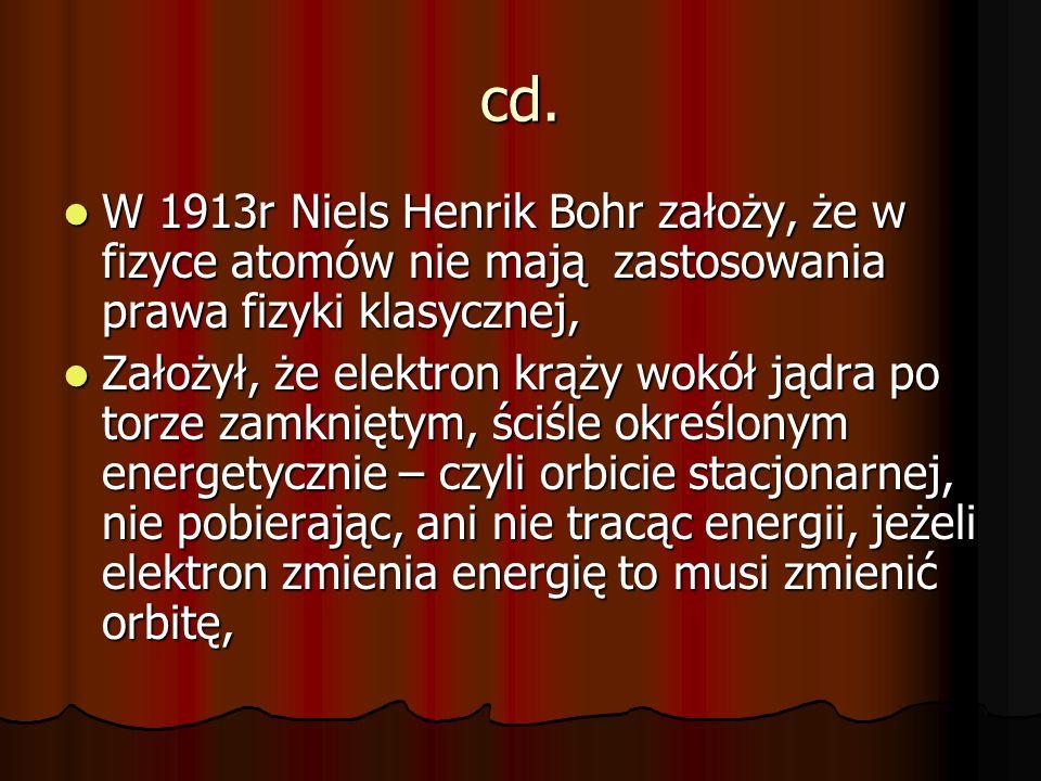 cd. W 1913r Niels Henrik Bohr założy, że w fizyce atomów nie mają zastosowania prawa fizyki klasycznej,