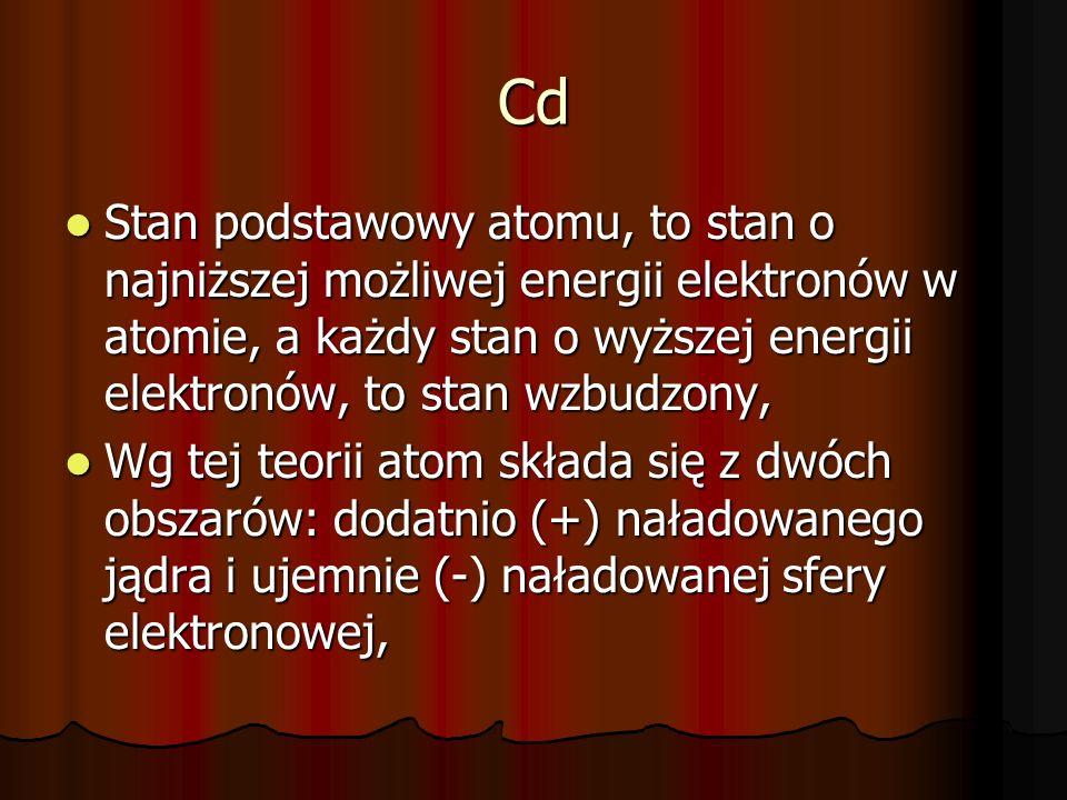 CdStan podstawowy atomu, to stan o najniższej możliwej energii elektronów w atomie, a każdy stan o wyższej energii elektronów, to stan wzbudzony,