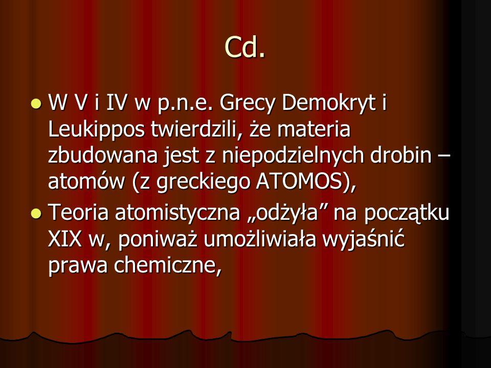 Cd. W V i IV w p.n.e. Grecy Demokryt i Leukippos twierdzili, że materia zbudowana jest z niepodzielnych drobin – atomów (z greckiego ATOMOS),