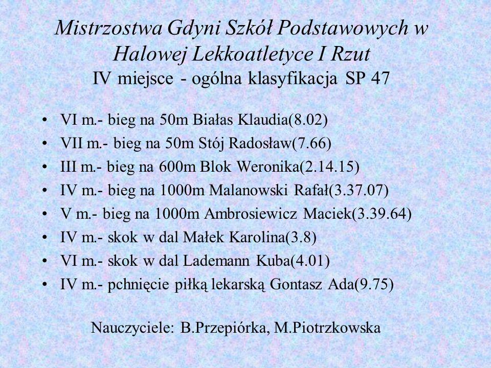 Mistrzostwa Gdyni Szkół Podstawowych w Halowej Lekkoatletyce I Rzut IV miejsce - ogólna klasyfikacja SP 47