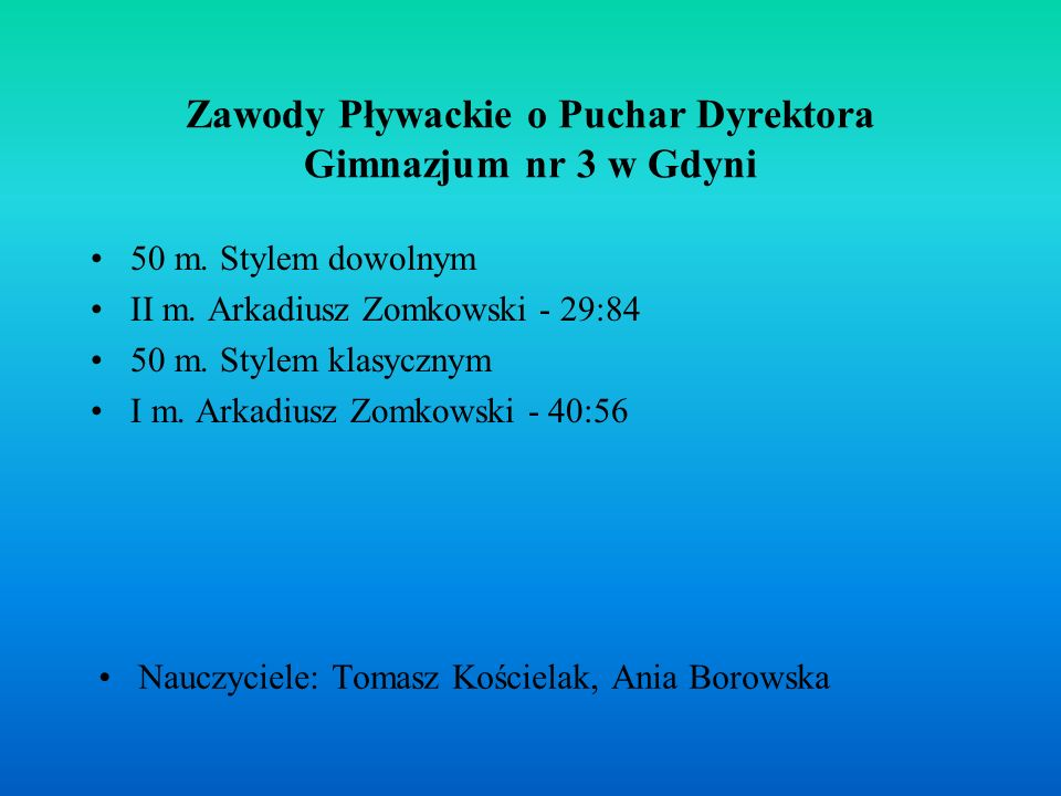 Zawody Pływackie o Puchar Dyrektora Gimnazjum nr 3 w Gdyni