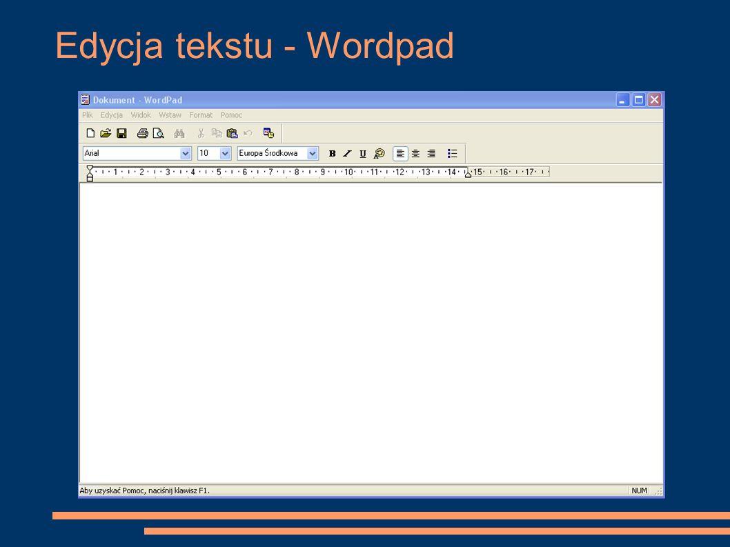 Edycja tekstu - Wordpad