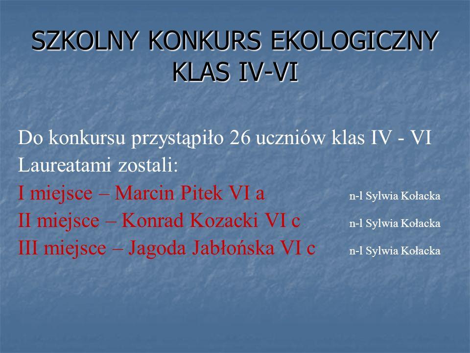 SZKOLNY KONKURS EKOLOGICZNY KLAS IV-VI