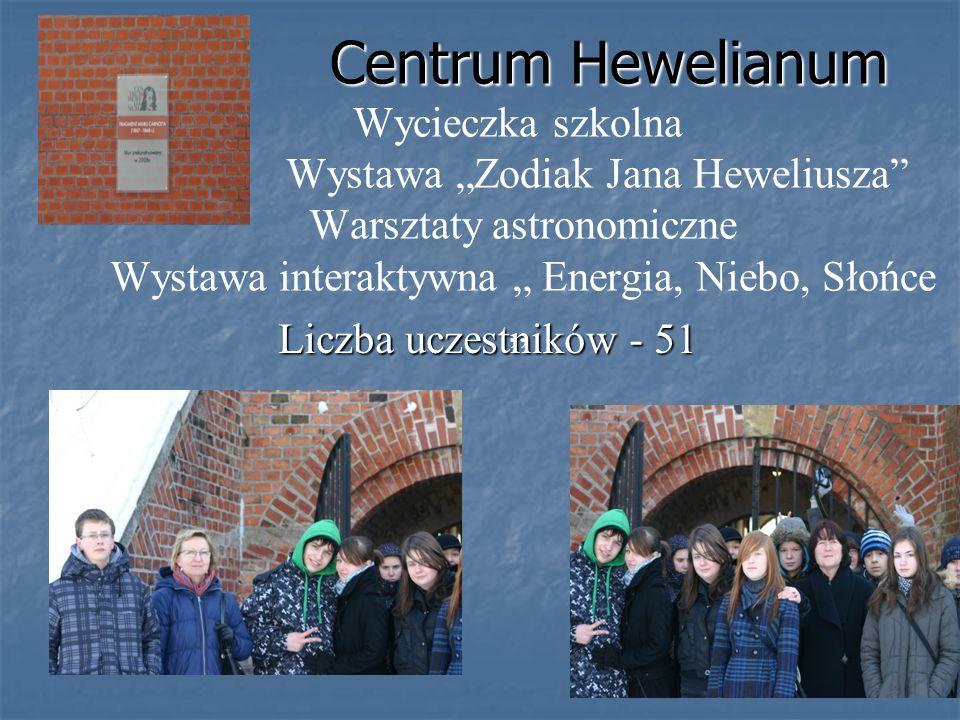 """Centrum Hewelianum Wycieczka szkolna Wystawa """"Zodiak Jana Heweliusza Warsztaty astronomiczne Wystawa interaktywna """" Energia, Niebo, Słońce """""""