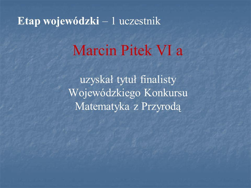 Marcin Pitek VI a Etap wojewódzki – 1 uczestnik