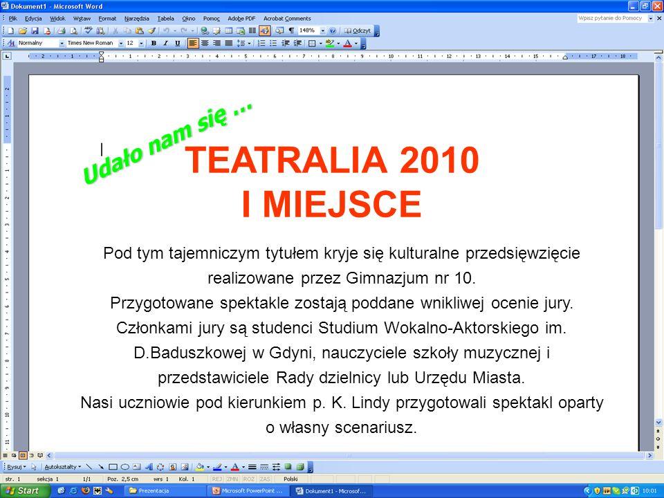 TEATRALIA 2010 I MIEJSCE Udało nam się …