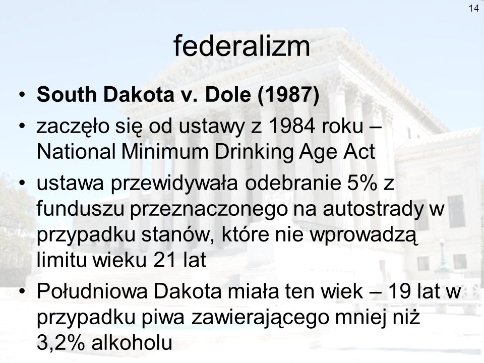 federalizm South Dakota v. Dole (1987)