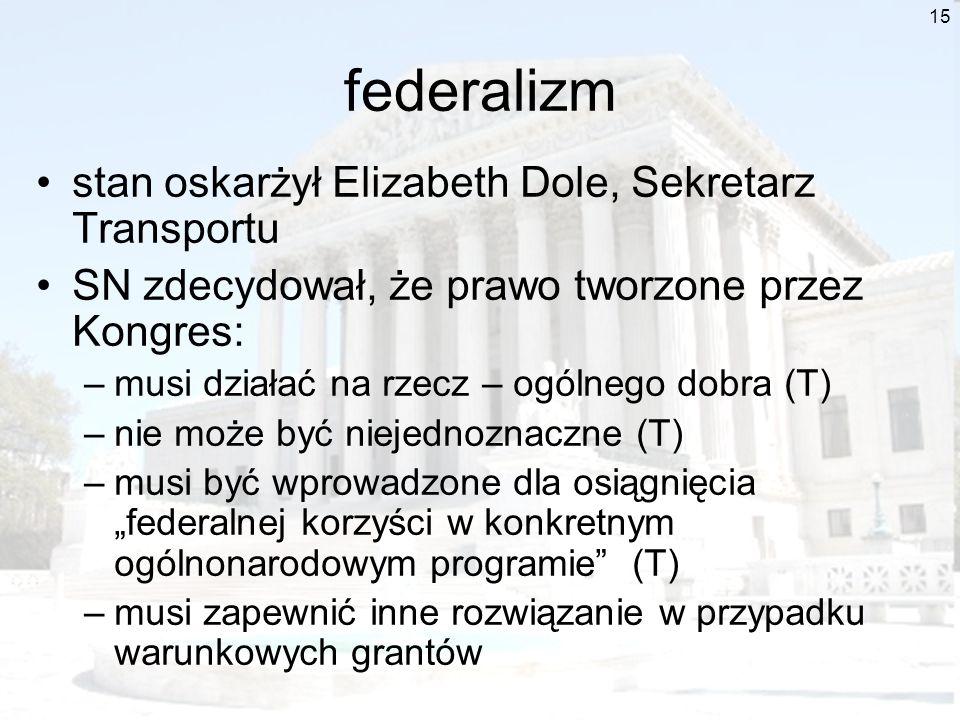 federalizm stan oskarżył Elizabeth Dole, Sekretarz Transportu