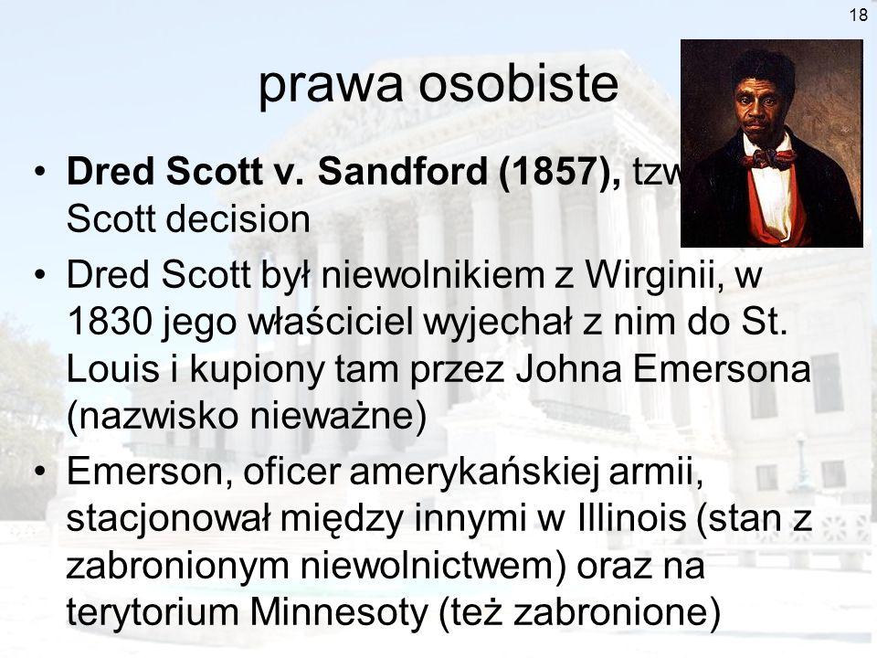 prawa osobiste Dred Scott v. Sandford (1857), tzw. Dred Scott decision