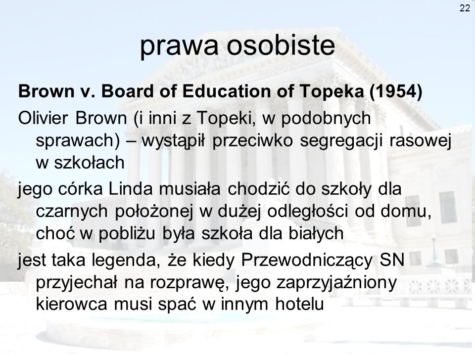 prawa osobiste Brown v. Board of Education of Topeka (1954)
