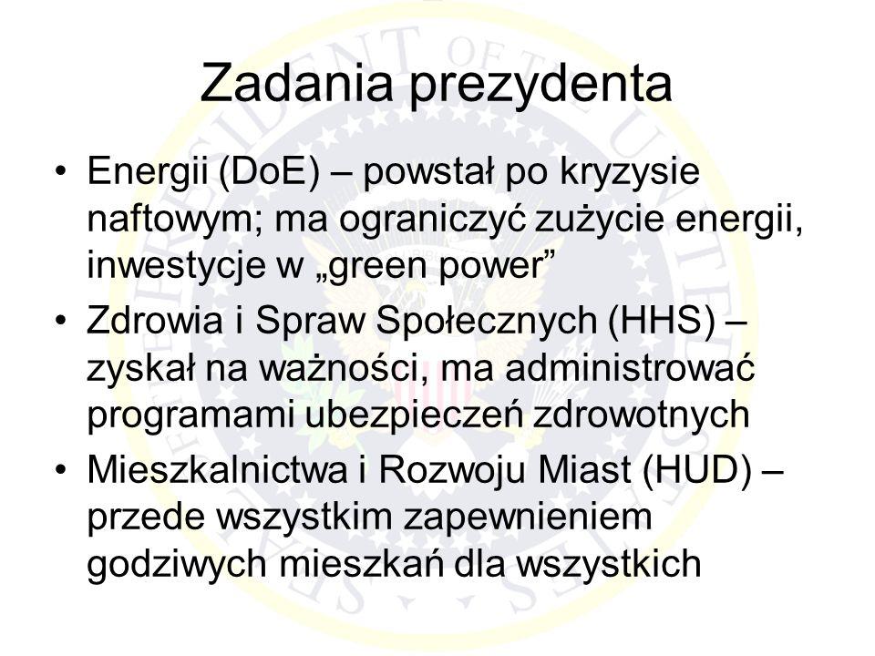 """Zadania prezydenta Energii (DoE) – powstał po kryzysie naftowym; ma ograniczyć zużycie energii, inwestycje w """"green power"""