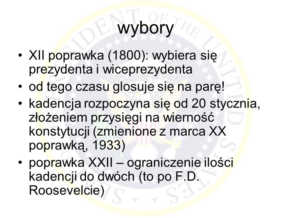 wybory XII poprawka (1800): wybiera się prezydenta i wiceprezydenta