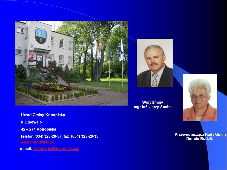 Wójt Gminy mgr inż. Jerzy Socha. Urząd Gminy Konopiska. ul.Lipowa 5. 42 – 274 Konopiska. Przewodnicząca Rady Gminy.