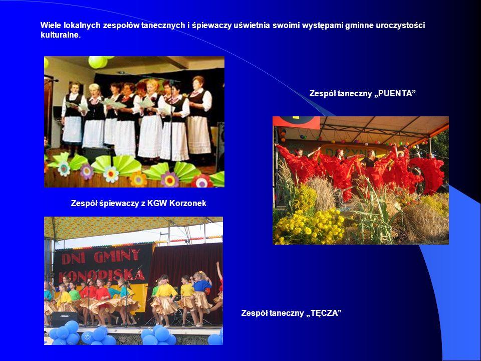 Wiele lokalnych zespołów tanecznych i śpiewaczy uświetnia swoimi występami gminne uroczystości kulturalne.