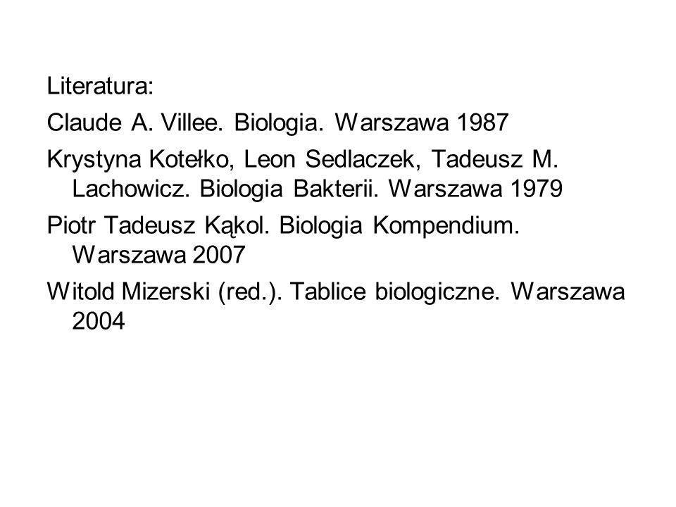 Literatura: Claude A. Villee. Biologia. Warszawa 1987. Krystyna Kotełko, Leon Sedlaczek, Tadeusz M. Lachowicz. Biologia Bakterii. Warszawa 1979.