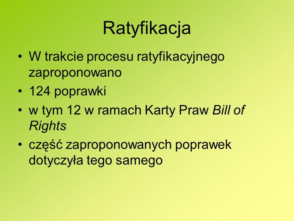 Ratyfikacja W trakcie procesu ratyfikacyjnego zaproponowano