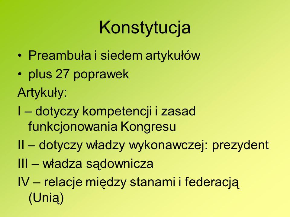 Konstytucja Preambuła i siedem artykułów plus 27 poprawek Artykuły: