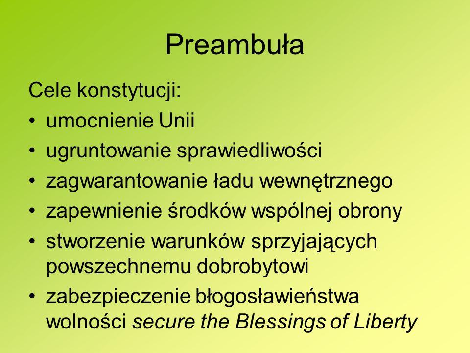 Preambuła Cele konstytucji: umocnienie Unii