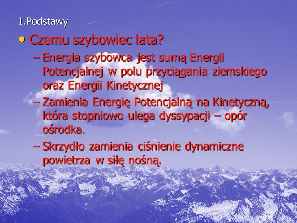 1.Podstawy Czemu szybowiec lata Energia szybowca jest sumą Energii Potencjalnej w polu przyciągania ziemskiego oraz Energii Kinetycznej.
