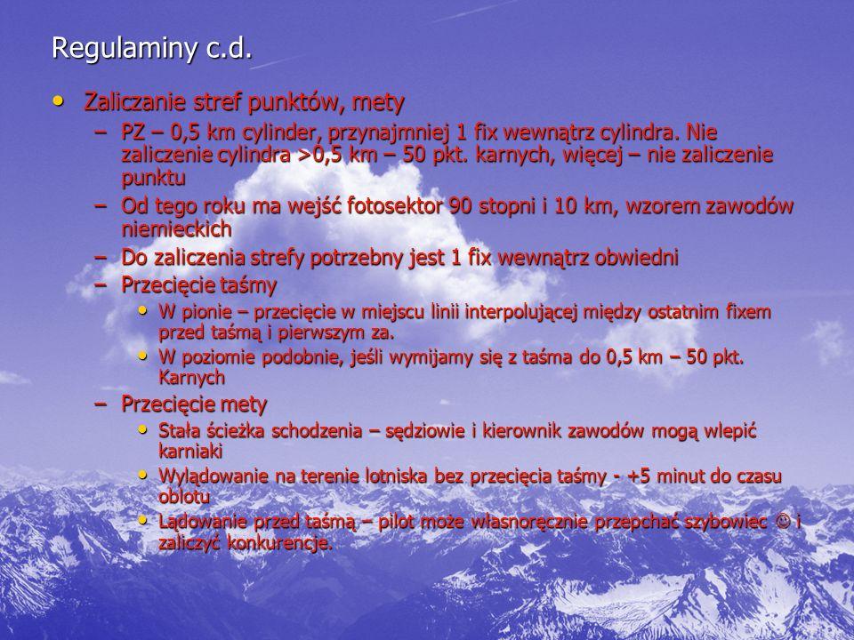 Regulaminy c.d. Zaliczanie stref punktów, mety