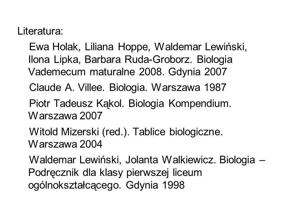 Literatura: Ewa Holak, Liliana Hoppe, Waldemar Lewiński, Ilona Lipka, Barbara Ruda-Groborz. Biologia Vademecum maturalne 2008. Gdynia 2007.