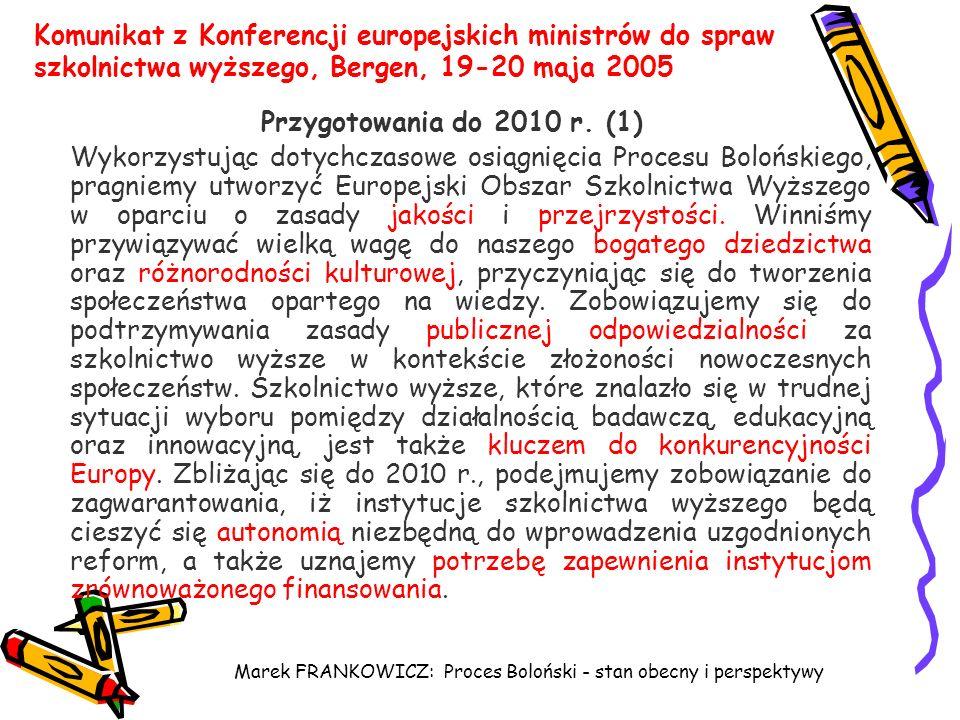 Marek FRANKOWICZ: Proces Boloński - stan obecny i perspektywy