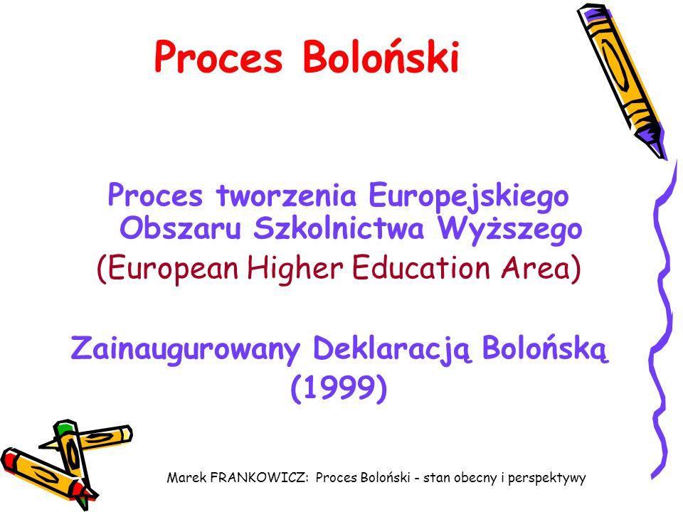 Proces Boloński Proces tworzenia Europejskiego Obszaru Szkolnictwa Wyższego. (European Higher Education Area)
