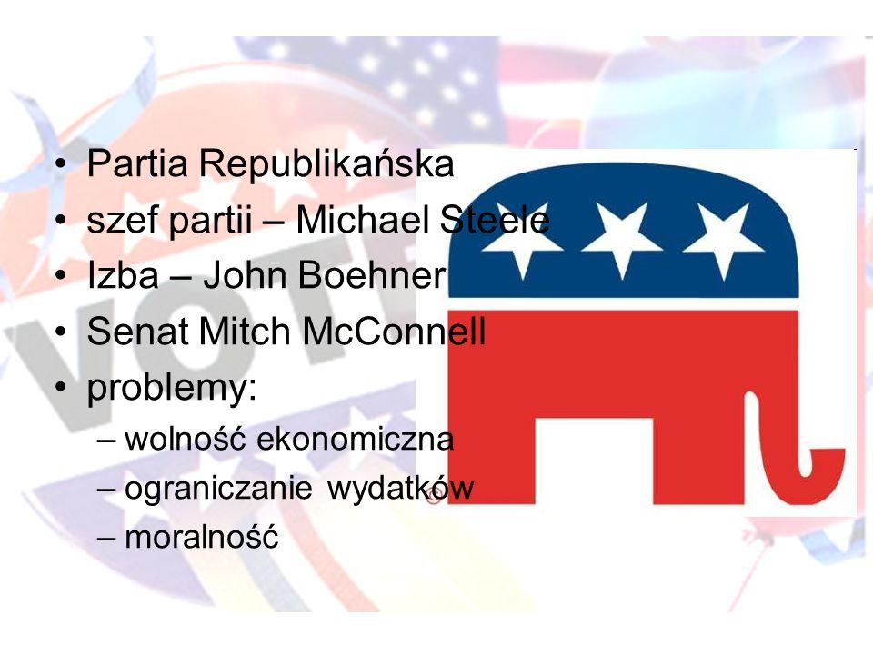 szef partii – Michael Steele Izba – John Boehner Senat Mitch McConnell