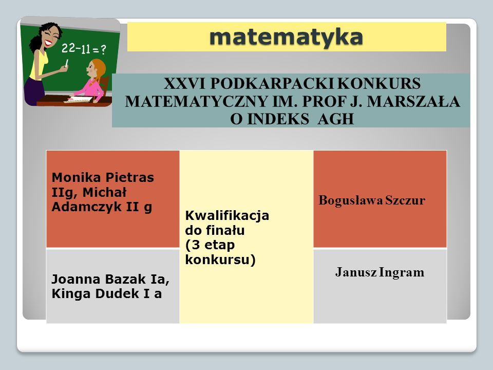 matematyka XXVI PODKARPACKI KONKURS MATEMATYCZNY IM. PROF J. MARSZAŁA O INDEKS AGH. Monika Pietras IIg, Michał Adamczyk II g.