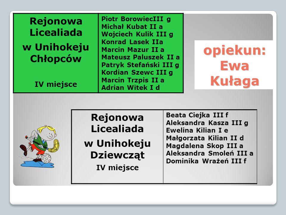 opiekun: Ewa Kułaga Rejonowa Licealiada w Unihokeju Chłopców