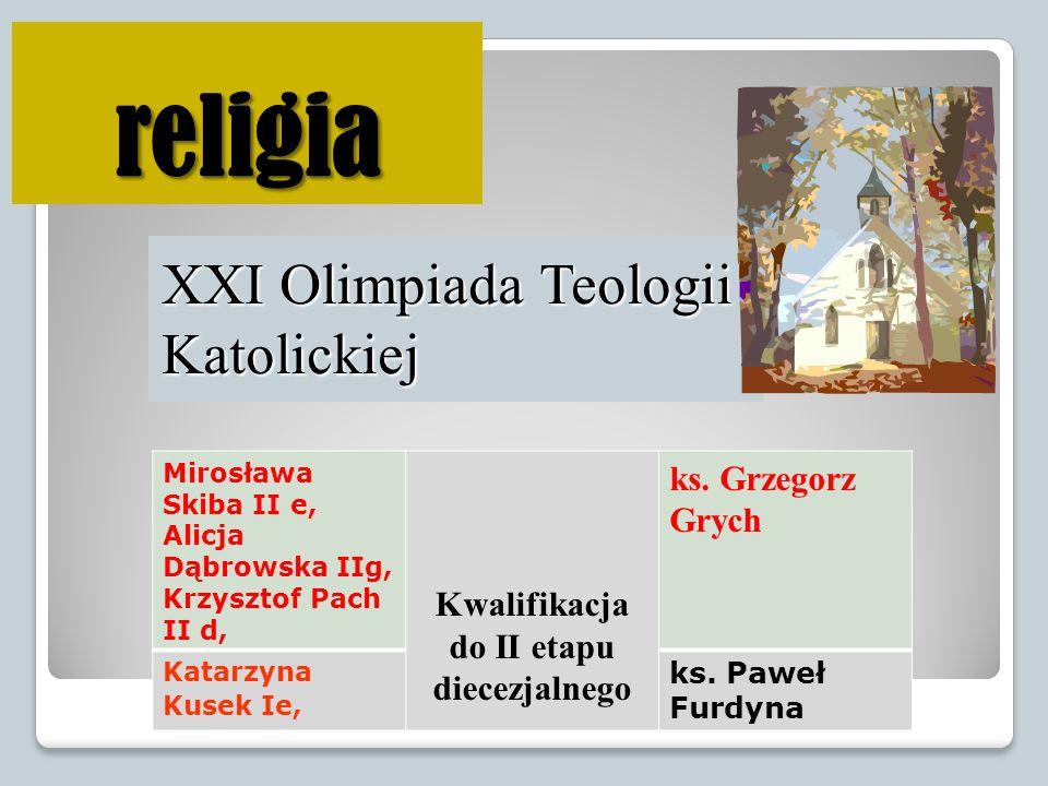 Kwalifikacja do II etapu diecezjalnego