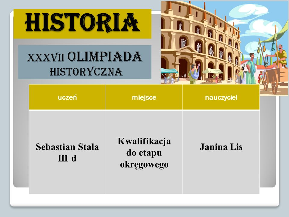 historia XXXVII Olimpiada Historyczna Sebastian Stala III d