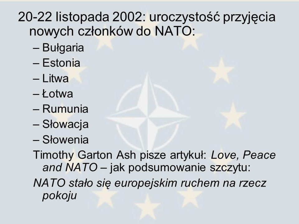 20-22 listopada 2002: uroczystość przyjęcia nowych członków do NATO: