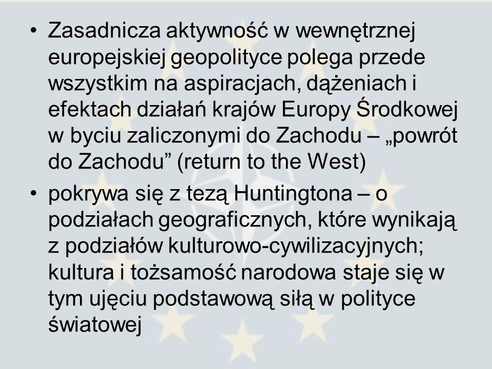 """Zasadnicza aktywność w wewnętrznej europejskiej geopolityce polega przede wszystkim na aspiracjach, dążeniach i efektach działań krajów Europy Środkowej w byciu zaliczonymi do Zachodu – """"powrót do Zachodu (return to the West)"""