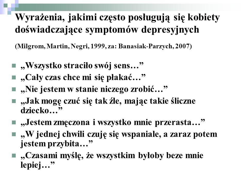 Wyrażenia, jakimi często posługują się kobiety doświadczające symptomów depresyjnych (Milgrom, Martin, Negri, 1999, za: Banasiak-Parzych, 2007)