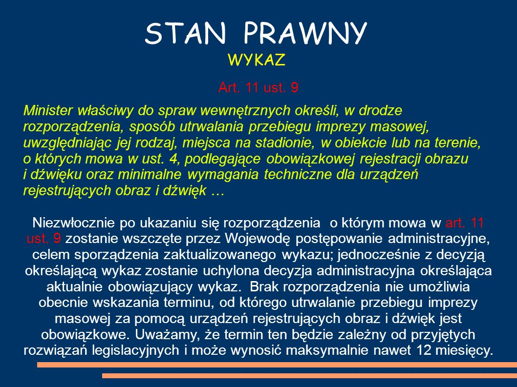 STAN PRAWNY WYKAZ Art. 11 ust. 9