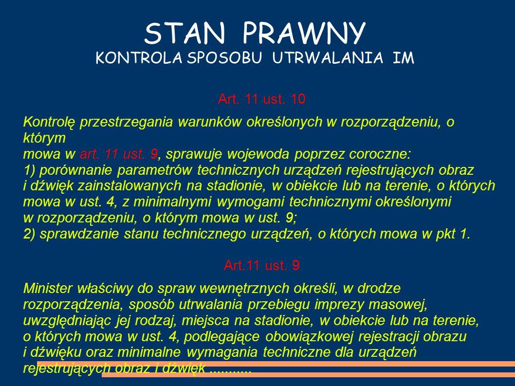 STAN PRAWNY KONTROLA SPOSOBU UTRWALANIA IM Art. 11 ust. 10