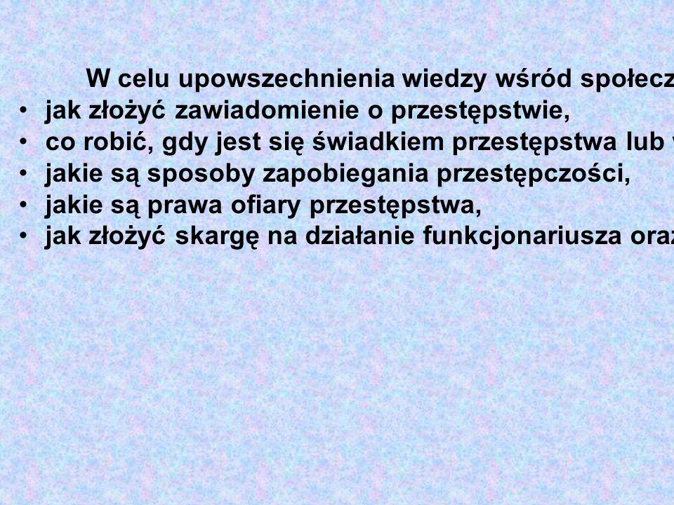 W celu upowszechnienia wiedzy wśród społeczeństwa w 2007 roku zostaną opracowane w MSWiA poradniki, m.in. o tym: