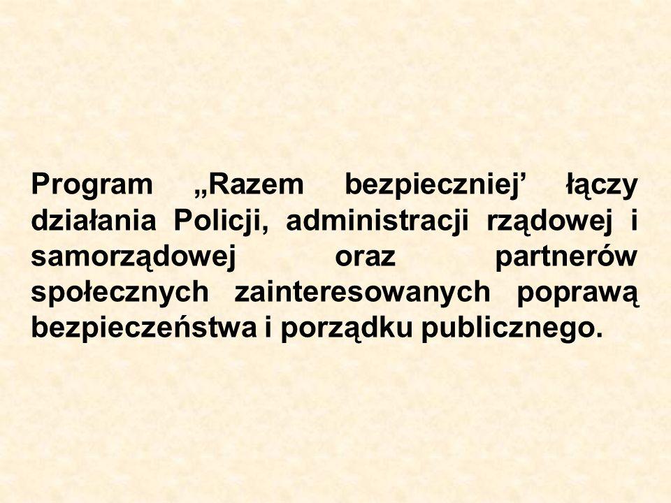 """Program """"Razem bezpieczniej' łączy działania Policji, administracji rządowej i samorządowej oraz partnerów społecznych zainteresowanych poprawą bezpieczeństwa i porządku publicznego."""
