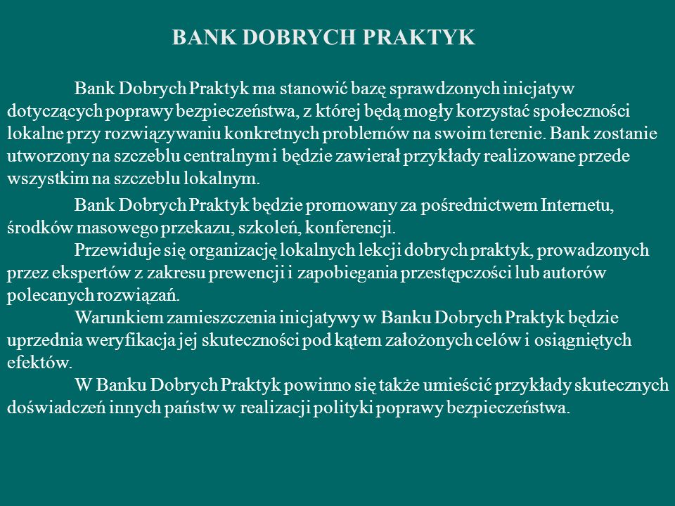 BANK DOBRYCH PRAKTYK