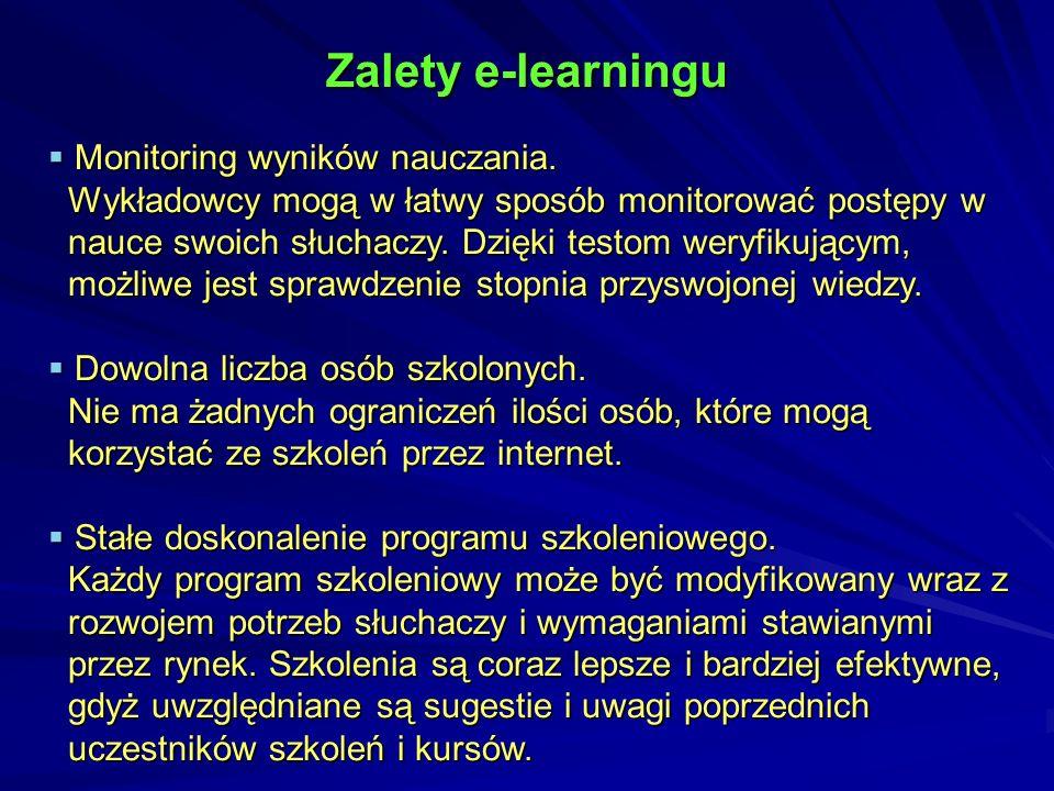 Zalety e-learningu Monitoring wyników nauczania.