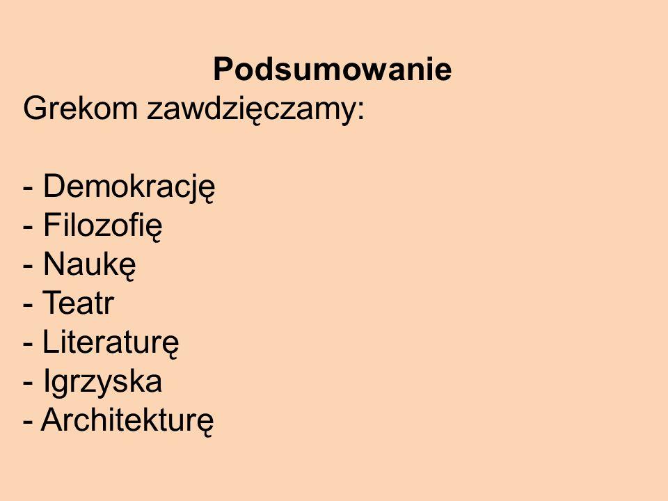 Podsumowanie Grekom zawdzięczamy: Demokrację. Filozofię. Naukę. - Teatr. - Literaturę. Igrzyska.