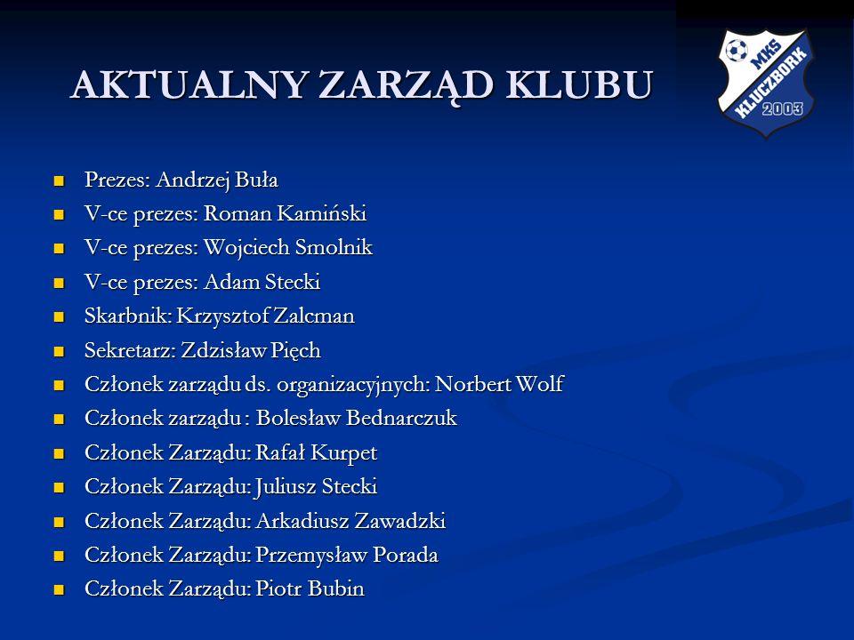 AKTUALNY ZARZĄD KLUBU Prezes: Andrzej Buła V-ce prezes: Roman Kamiński
