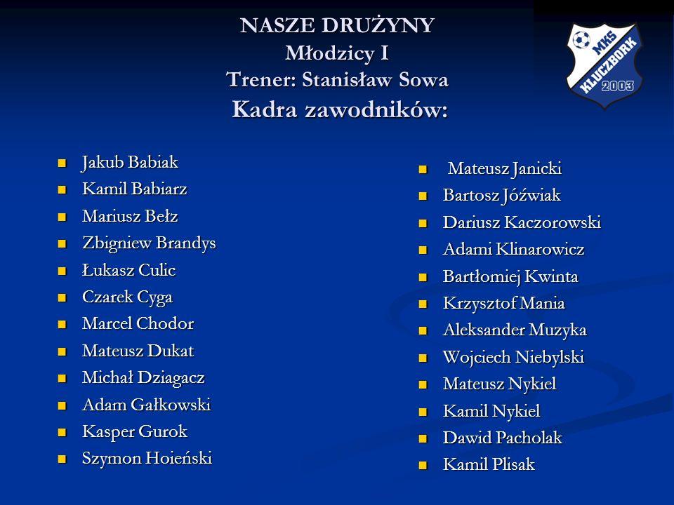 NASZE DRUŻYNY Młodzicy I Trener: Stanisław Sowa Kadra zawodników:
